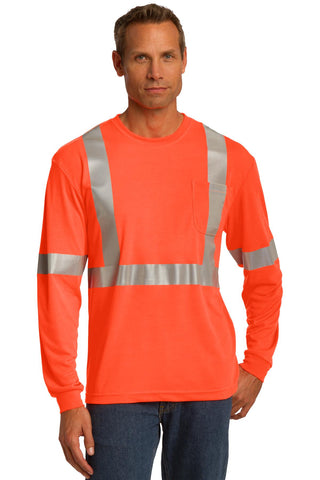 CornerStone CS401LS ANSI 107 Class 2 Long Sleeve Safety T-Shirt - Safety Orange Reflective - HIT A Double