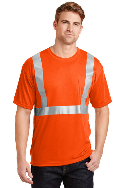 CornerStone CS401 ANSI 107 Class 2 Safety T-Shirt - Safety Orange Reflective - HIT A Double