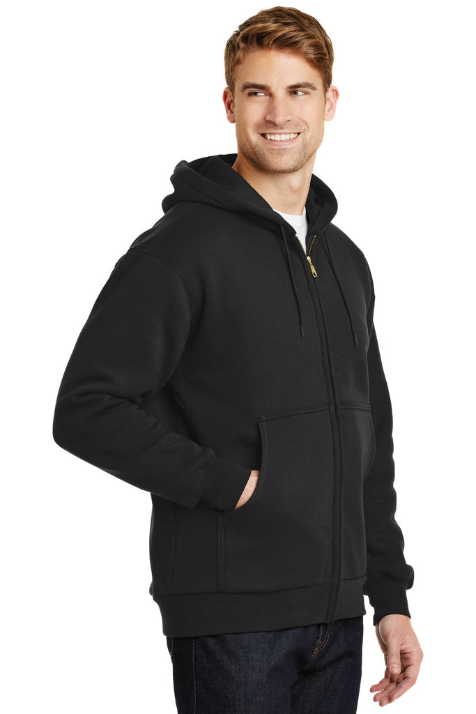 CornerStone CS620 Heavyweight Full-Zip Hooded Sweatshirt with Thermal Lining - Black - HIT A Double