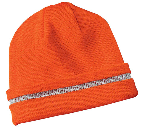 CornerStone CS800 Enhanced Visibility Beanie with Reflective Stripe - Safety Orange Reflective - HIT A Double