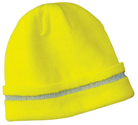 CornerStone CS800 Enhanced Visibility Beanie with Reflective Stripe - Safety Yellow Reflective - HIT A Double