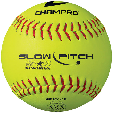 Champro CSB10Y ASA 12 Slow PitchYellow Leather Cover .44 Cor - HIT A Double