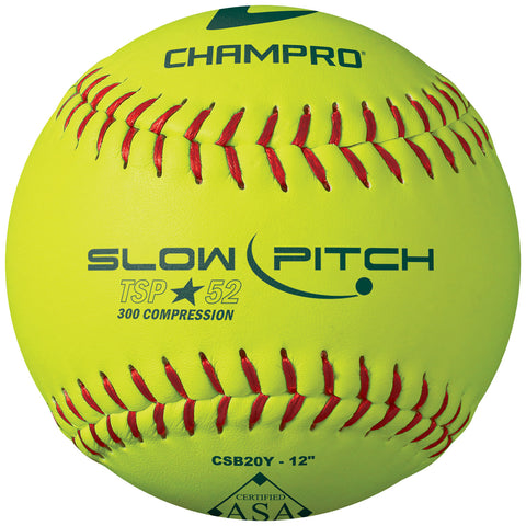 Champro CSB20Y ASA 12 Slow PitchLeather Cover .52 Cor - HIT A Double