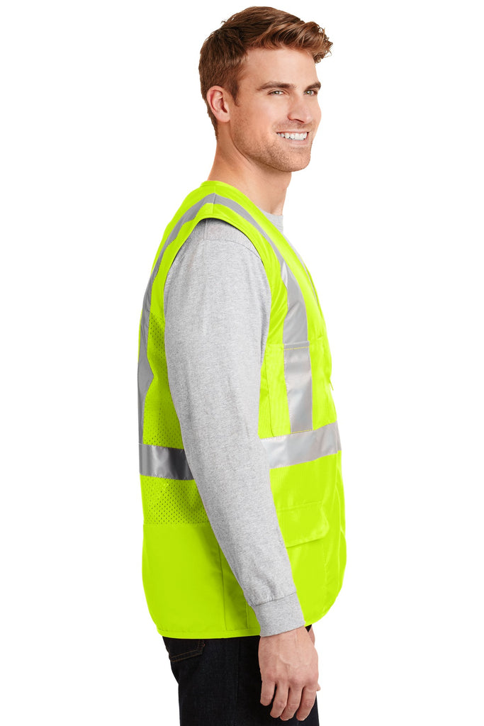 CornerStone CSV405 Ansi 107 Class 2 Mesh Back Safety Vest - Safety Yellow - HIT A Double
