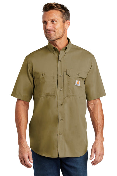Carhartt CT102417 Force Ridgefield Solid Short Sleeve Shirt - Dark Khaki