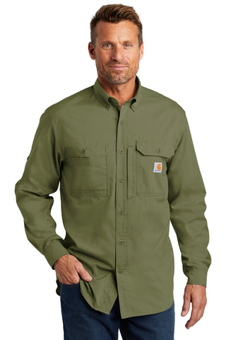 Carhartt CT102418 Force Ridgefield Solid Long Sleeve Shirt - Burnt Olive - HIT A Double
