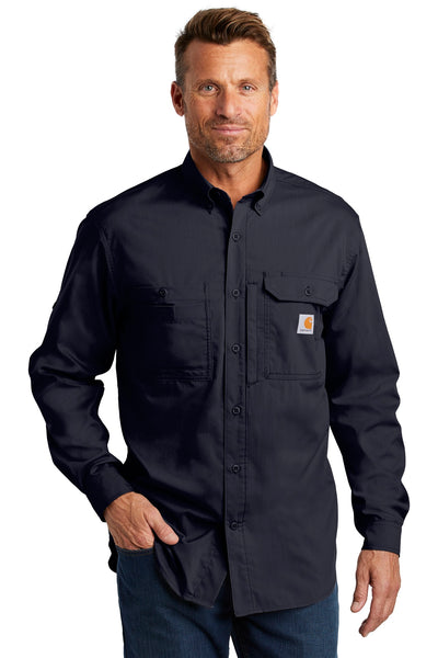Carhartt CT102418 Force Ridgefield Solid Long Sleeve Shirt - Navy