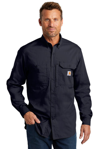 Carhartt CT102418 Force Ridgefield Solid Long Sleeve Shirt - Navy - HIT A Double