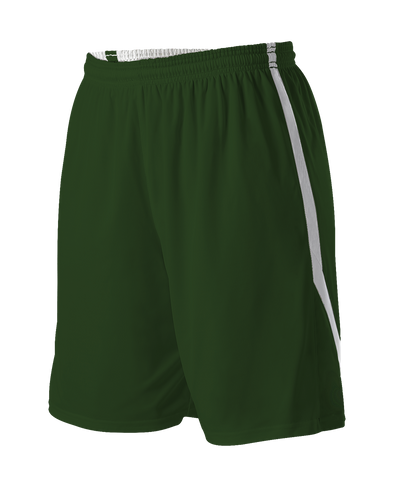 Alleson 531PRWY Girl's Reversible Basketball Short - Forest White - Basketball, Lacrosse/Field Hockey, Softball Apparel, Volleyball Apparel Girls, Training/Running - Hit A Double