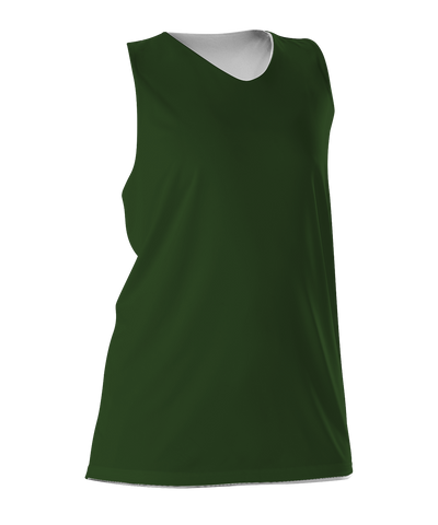 Alleson 506CRW Women's Reversible Racerback Tank - Forest White - Basketball, Lacrosse/Field Hockey - Hit A Double