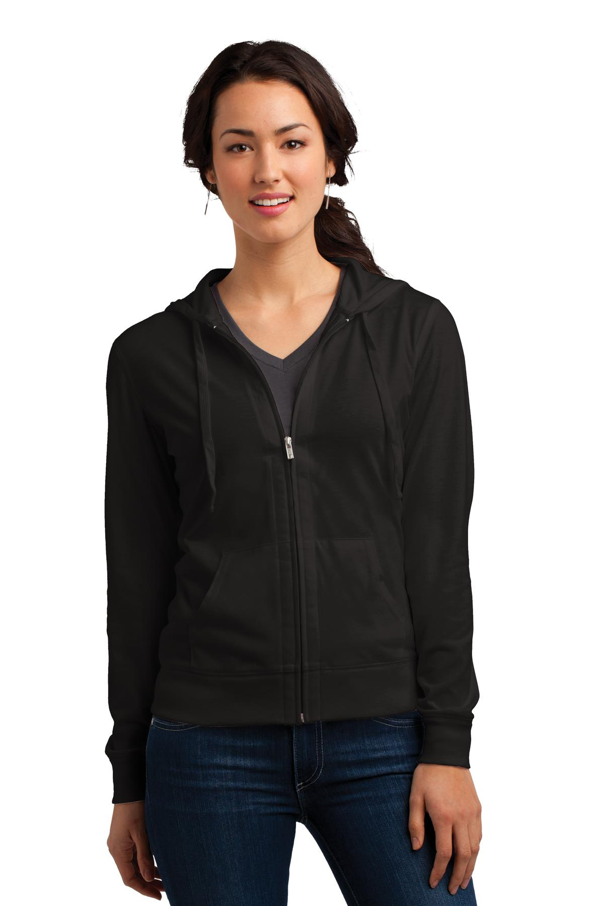 District DT2100 Women's Fitted Jersey Full-Zip Hoodie - Black - HIT A Double
