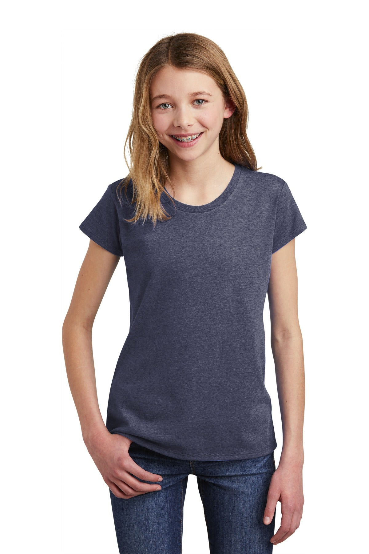 District DT6001YG Girls Very Important Tee - Heathered Navy - HIT A Double