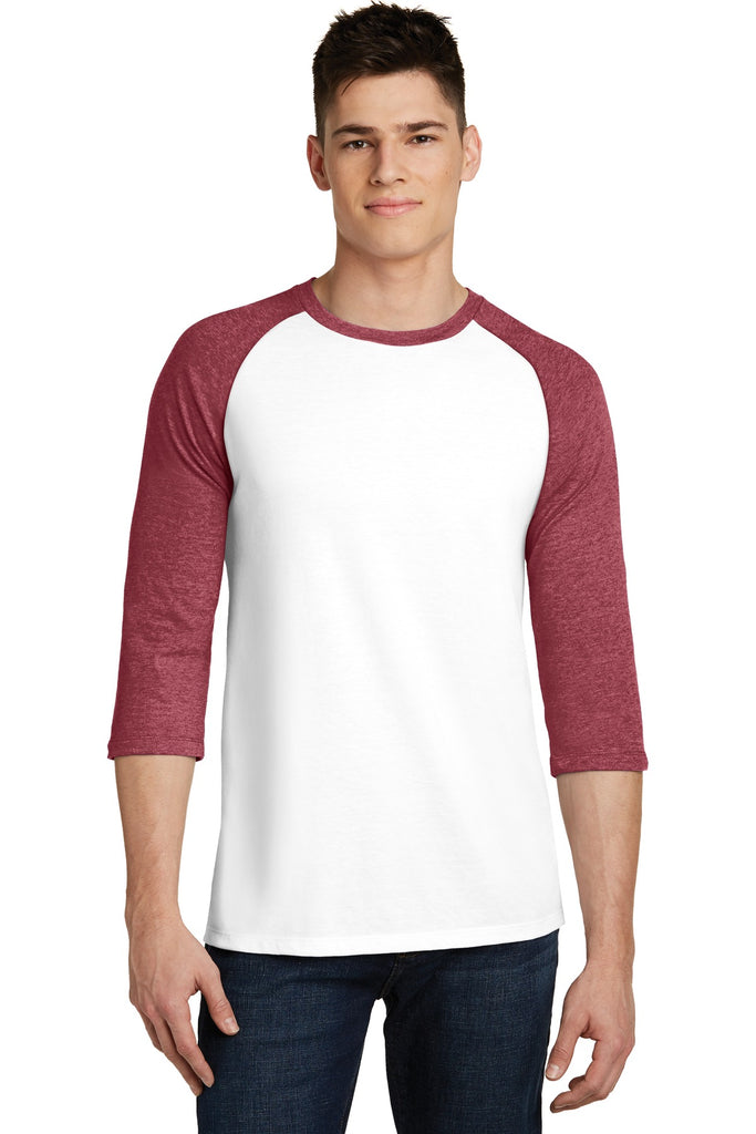 District DT6210 Very Important Tee 3/4-Sleeve Raglan - Heathered Red White