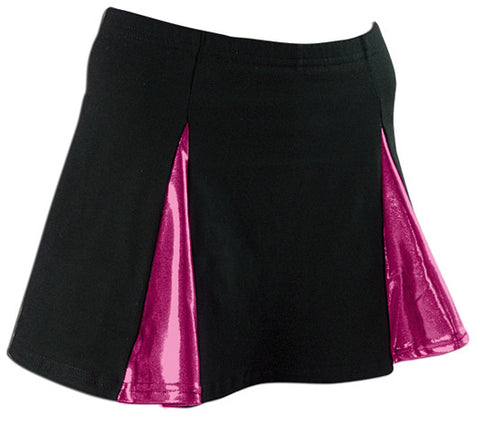 Pizzazz Metallic V-Panel Skirt with Boys Cut Briefs - Black Fuchsia