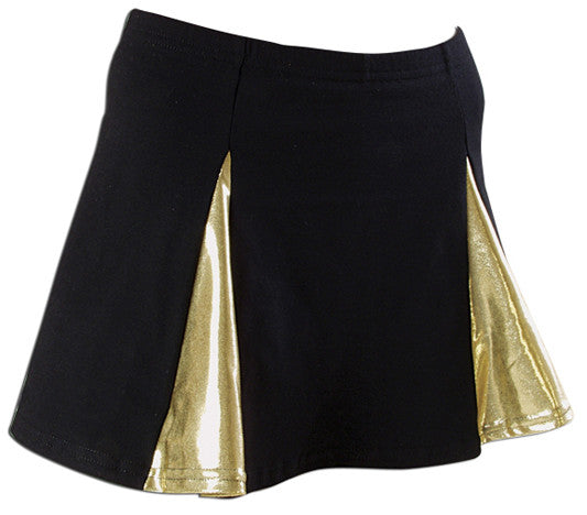 Pizzazz Metallic V-Panel Skirt with Boys Cut Briefs - Black Gold