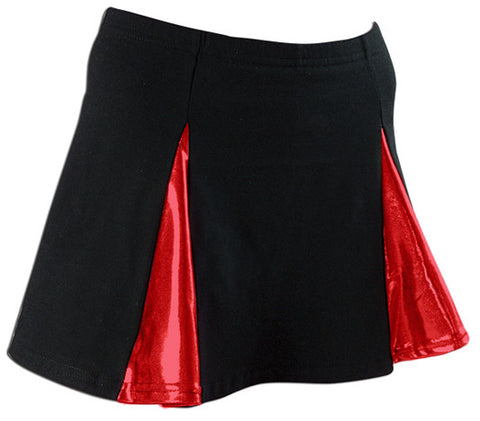 Pizzazz Metallic V-Panel Skirt with Boys Cut Briefs - Black Red