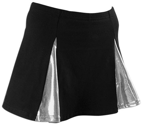 Pizzazz Metallic V-Panel Skirt with Boys Cut Briefs - Black Silver