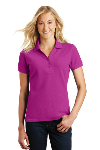 Eddie Bauer EB101 Ladies Cotton Pique Polo - Deep Magenta - HIT A Double