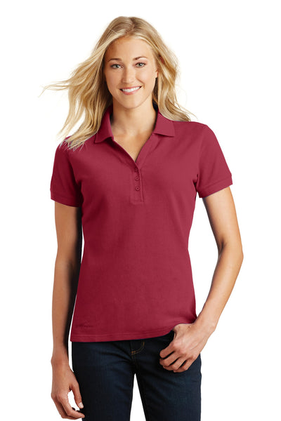Eddie Bauer EB101 Ladies Cotton Pique Polo - Red Rhubarb - HIT A Double
