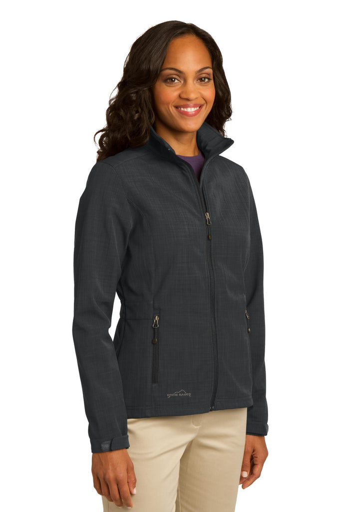 Eddie Bauer EB533 Ladies Shaded Crosshatch Soft Shell Jacket - Gray - HIT A Double