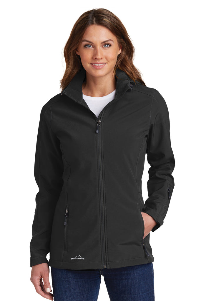 Eddie Bauer EB537 Ladies Hooded Soft Shell Parka - Black - HIT A Double