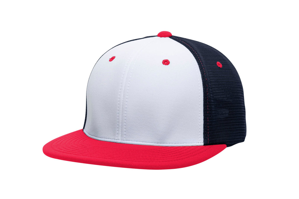 Pacific Headwear ES341 Premium M2 Performance Trucker Flexfit Cap - White Navy Red