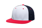 Pacific Headwear ES341 Premium M2 Performance Trucker Flexfit Cap - White Navy Red - HIT A Double