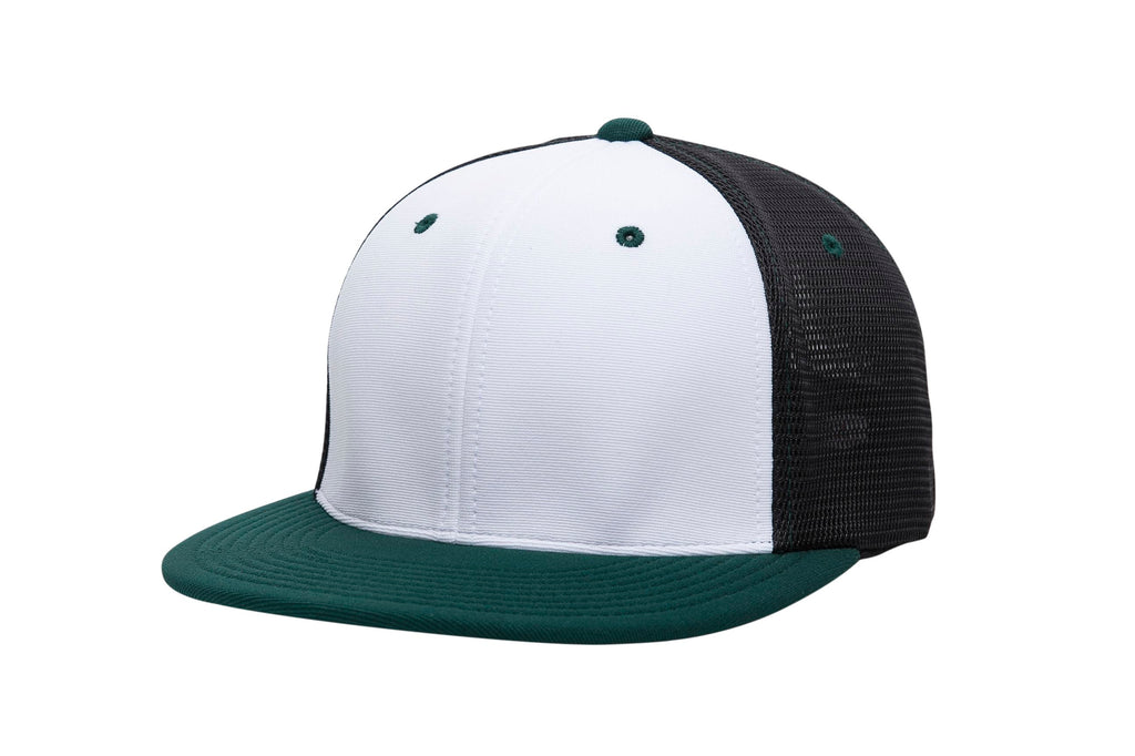 Pacific Headwear ES341 Premium M2 Performance Trucker Flexfit Cap - White Black Dark Green - HIT A Double