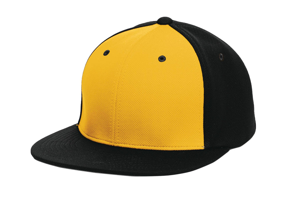 Pacific Headwear ES342 Premium P-Tec Performance Flexfit Cap - Gold Black Black - HIT A Double