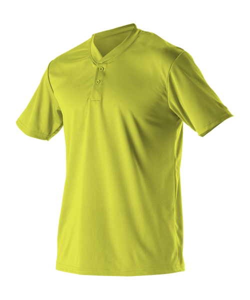 Alleson 522MMY Youth Baseball 2 Button Henley Jersey - Lime - Baseball Apparel - Hit A Double