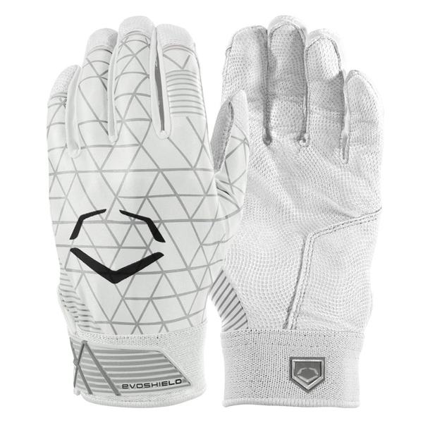 EvoShield Adult EvoCharge Protective Batting Gloves - White - Batting Gloves - Hit A Double