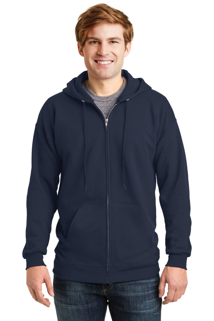 Hanes F283 Ultimate Cotton Full-Zip Hooded Sweatshirt - Navy - HIT A Double