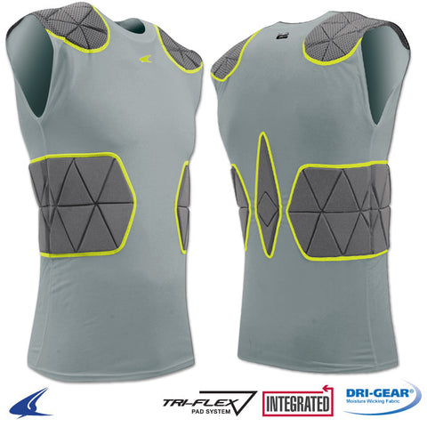 Champro FJU6GR Tri-Flex Compression Shirt with Cushion System - Gray Charcoal
