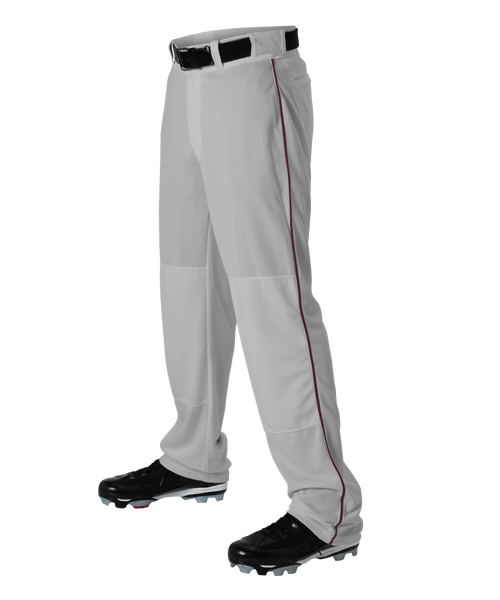 Alleson 605WLBY Youth Baseball Pant with Braid - Gray Maroon - Baseball Apparel - Hit A Double