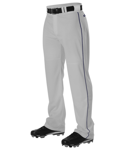 Alleson PWRPBPY Youth Warp Knit Baseball Pant with Side Braid - Gray Navy - Baseball Apparel - Hit A Double