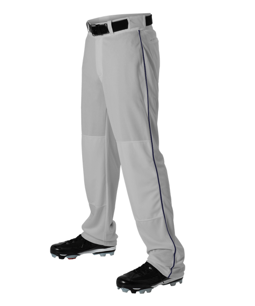 Alleson 605WLBY Youth Baseball Pant with Braid - Gray Navy - Baseball Apparel - Hit A Double