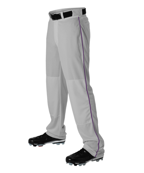 Alleson 605WLBY Youth Baseball Pant with Braid - Gray Purple - Baseball Apparel - Hit A Double