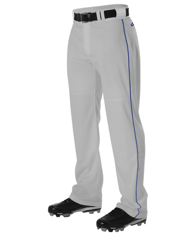 Alleson PWRPBPY Youth Warp Knit Baseball Pant with Side Braid - Gray Royal - Baseball Apparel - Hit A Double