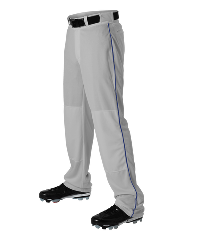 Alleson 605WLBY Youth Baseball Pant with Braid - Gray Royal - Baseball Apparel - Hit A Double