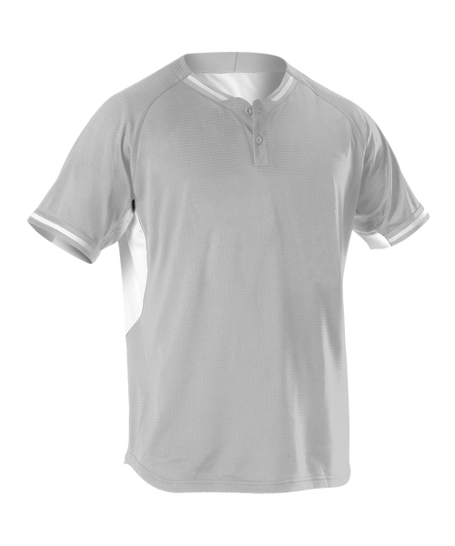 Alleson 524PD Adult 2 Button Baseball Jersey - Gray White