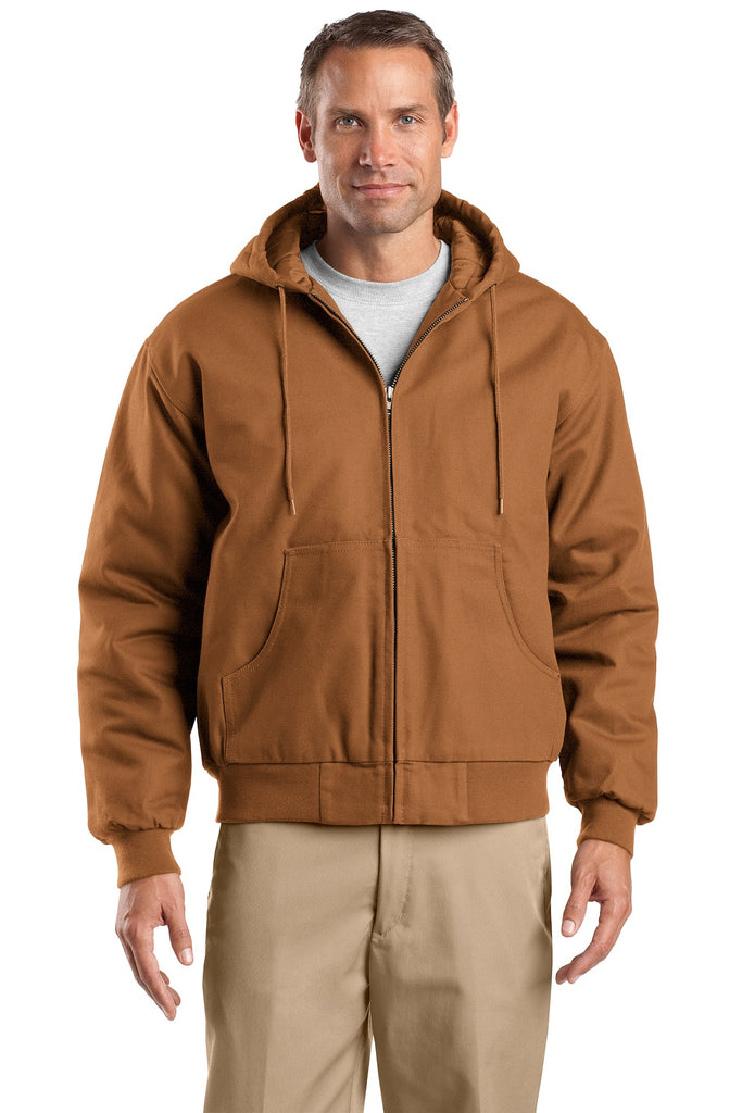 CornerStone TLJ763H Tall Duck Cloth Hooded Work Jacket - Duck Brown