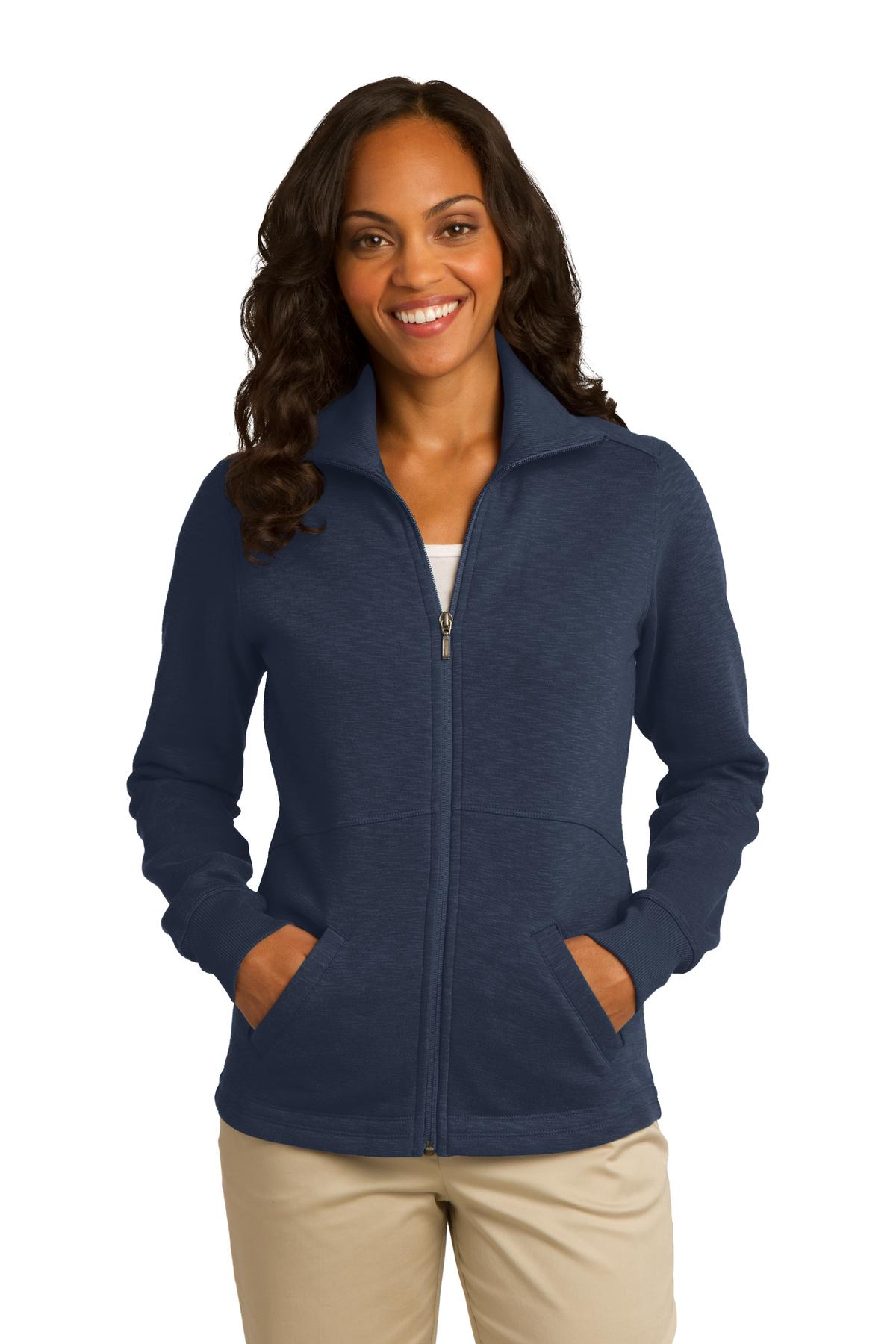 Port Authority L293 Ladies Slub Fleece Full-Zip Jacket - Navy - HIT A Double