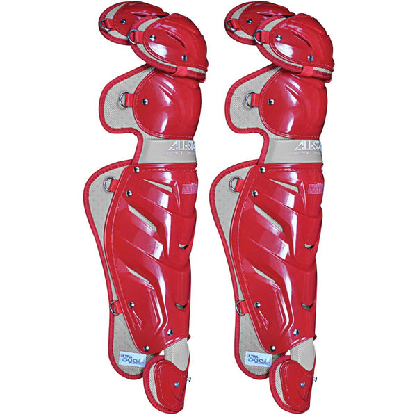 "All-Star Adult System  7 16.5"" Pro Leg Guards - Scarlet - Catcher"