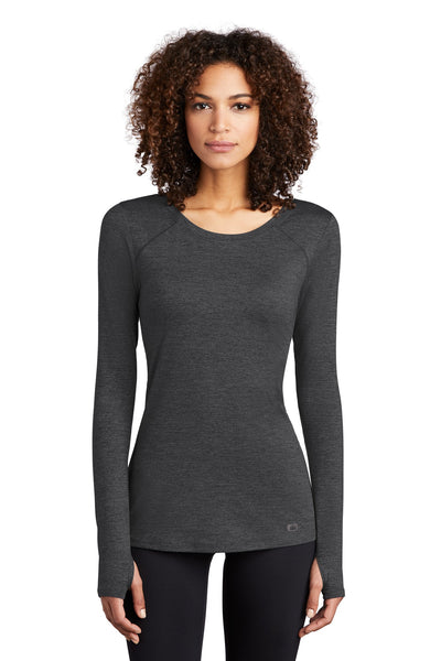 OGIO Endurance LOE340 Ladies Force Long Sleeve Tee - Blacktop Heather - HIT A Double
