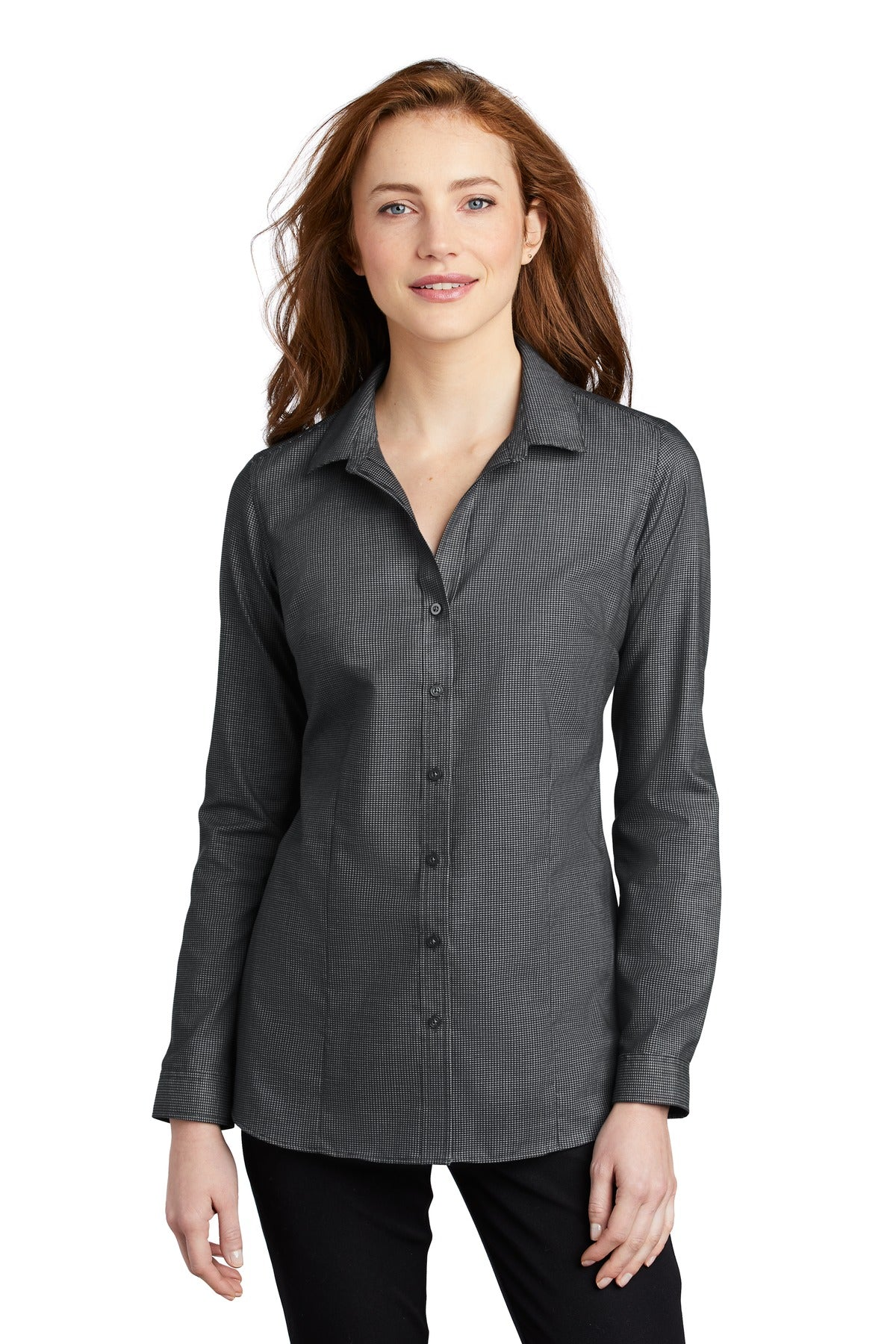 Port Authority LW645 Ladies Pincheck Easy Care Shirt - Black Gray Steel - HIT A Double