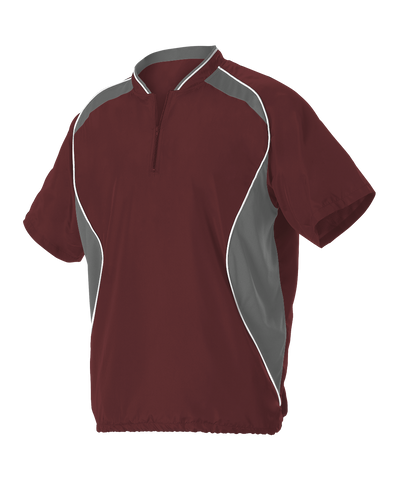 Alleson 3JSS13A Adult Short Sleeve Baseball Batters Jacket - Maroon Charcoal White