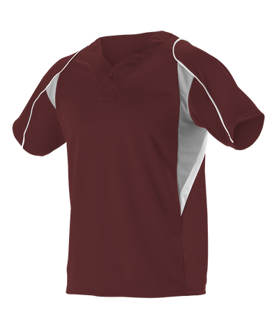 Alleson 529 Adult 2 Button Henley Baseball Jersey - Maroon Gray White