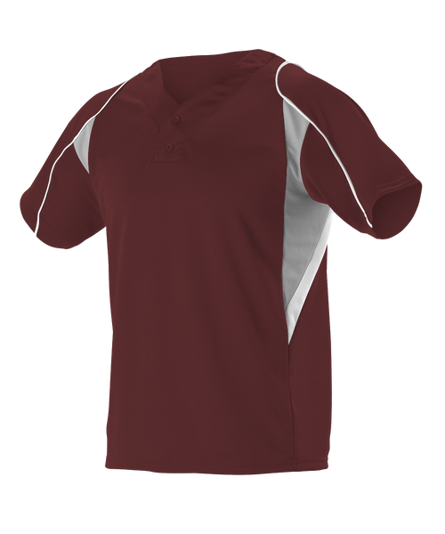 Alleson 529Y Youth 2 Button Henley Baseball Jersey - Maroon Gray White - Baseball Apparel - Hit A Double
