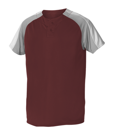 Alleson 5063CHY Youth 2 Button Henley Baseball Jersey - Maroon Gray White - Baseball Apparel - Hit A Double