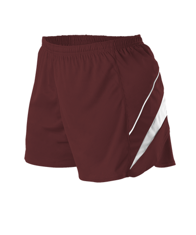Alleson R1LFPW Women's Loose Fit Track Short - Maroon White - Training/Running - Hit A Double